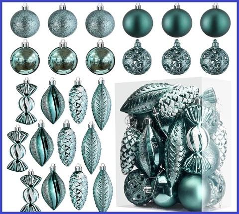 Palle natalizie infrangibili dal colore turchese