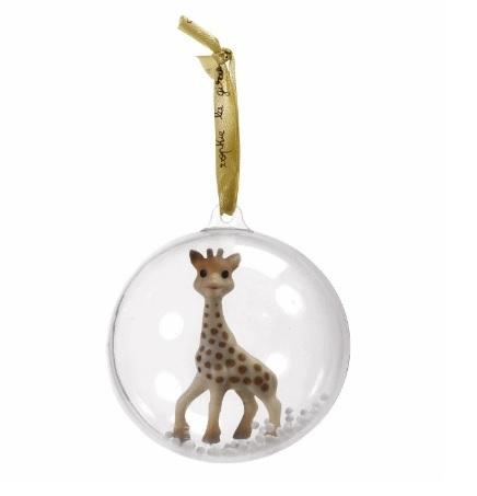 Palla di natale con giraffa dentro