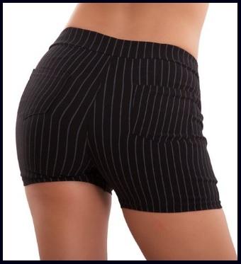 Pantaloni Corti Da Donna Eleganti A Righe Scuri