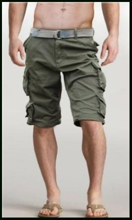 Pantaloni Corti Per Uomo Bermuda Con Cintura