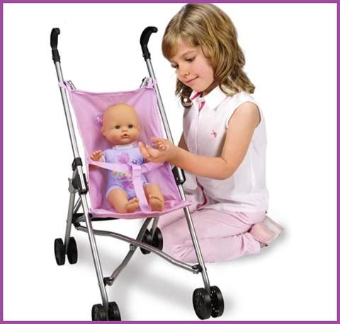 Passeggino bambole rosa