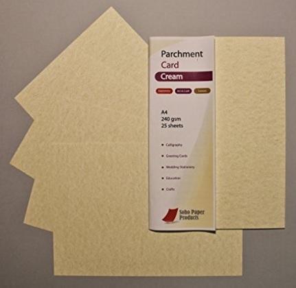 Fogli pergamena dal colore crema formato a4