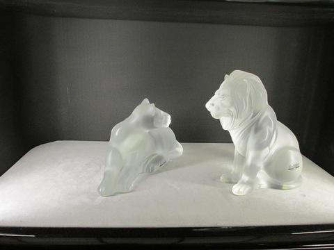Tigre e leone in cristallo