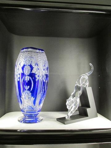 Vaso blu e tigre in cristallo