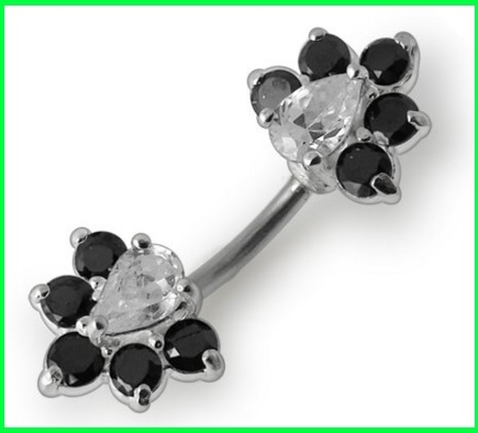 Piercing doppio ombelico con cristalli