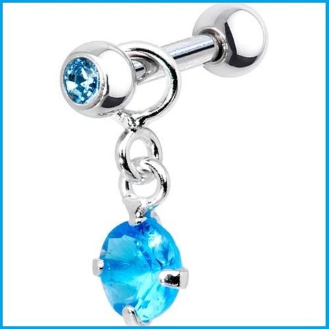 Piercing argento brillante blu