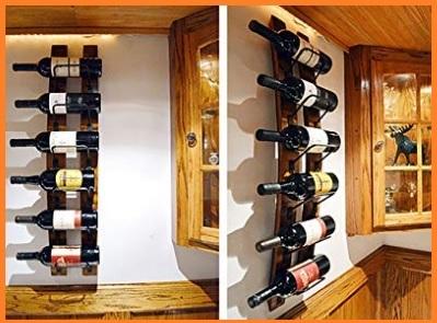 Porta bottiglie in legno da parete
