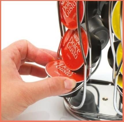 Porta capsule girevole e in acciaio dolce gusto
