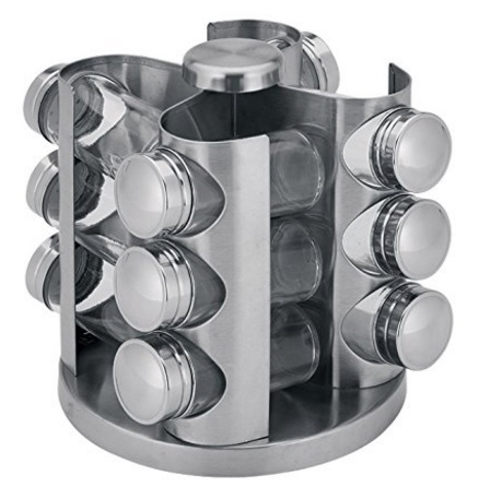 Portaspezie girevole moderno in acciaio inox