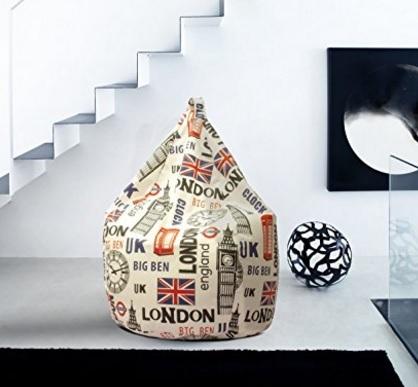 Poltrona A Sacco Con Tema Londra In Cotone
