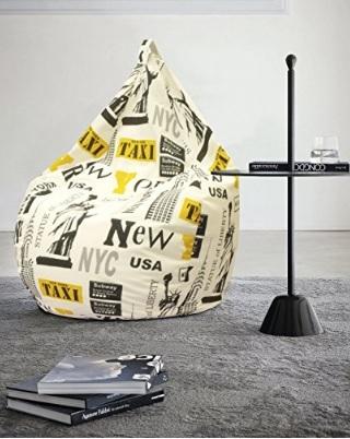 Poltrona pouf in cotone misto dal tema new york