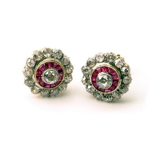 Orecchini rubini e diamanti