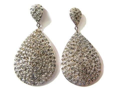 Orecchini oro bianco 18 kt e argento con diamanti