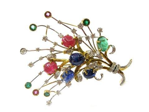 Spilla fiore multicolor smeraldi, diamanti, tormalina