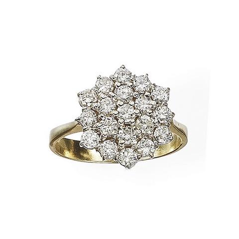 Anello in oro giallo 18 kt con diamanti taglio brillante