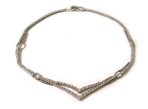 Girocollo in oro bianco 18 kt con diamanti