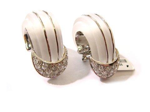 Orecchini in oro bianco 18 kt con cristallo di rocca