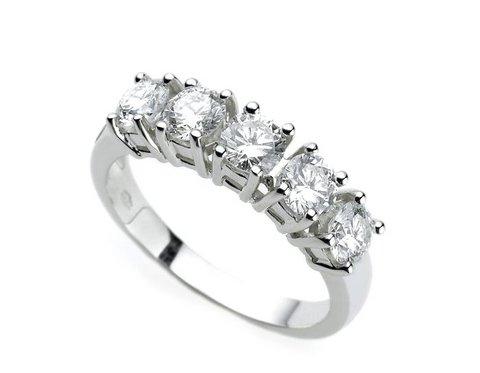 Anello veretta in oro bianco 18 kt con 5 diamanti