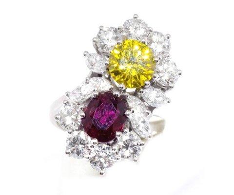 Anello bucherer in oro bianco 18 kt fancy yellow diamond