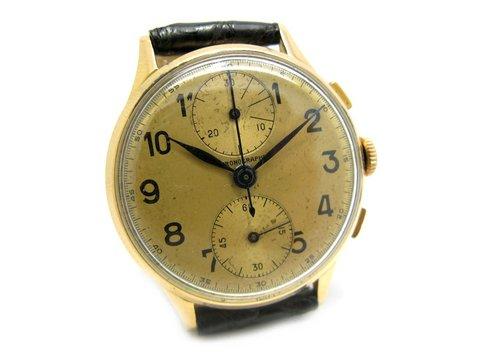 Chronografo bicompax epoca 1950 in oro giallo 18 kt