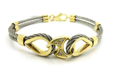 Bracciale unisex in acciaio e oro giallo 18 kt