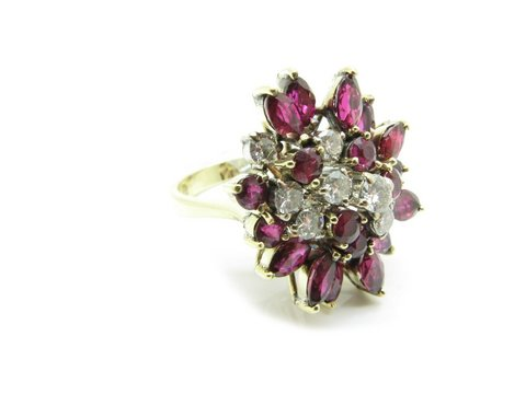 Anello vintage rubini e diamanti