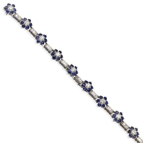Bracciale fiori diamanti e zaffiri