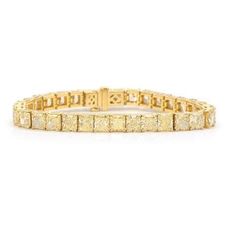 Bracciale tennis in oro giallo 18 kt con diamanti yellow