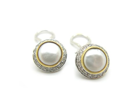 Orecchini in oro bianco 18 kt con perla mabé #preziosi