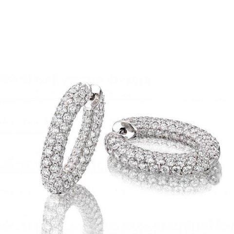 Orecchini cerchi in oro bianco 18 kt full pavé di diamanti