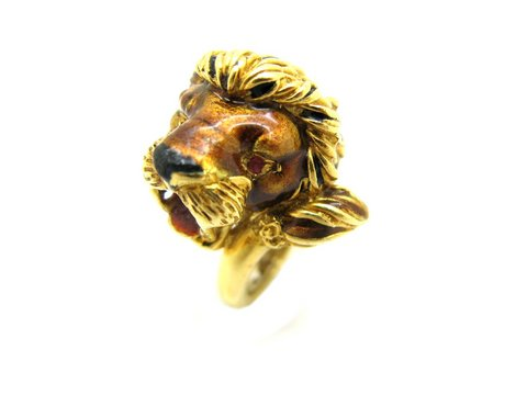 Anello leone vintage firmato