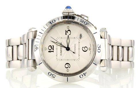 Cartier pasha ref. 2379 in acciaio misura media 38 mm