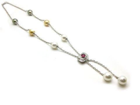 Collana perle australiane e tahiti oro bianco vendita lugano