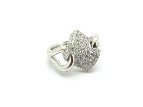 Anello motivo ondulato diamanti lugano preziosi