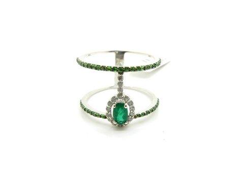 Anello design smeraldi e diamanti - lugano gioielli orologi
