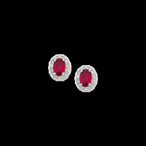 Orecchini in oro bianco 18 kt con rubini lugano gioielli