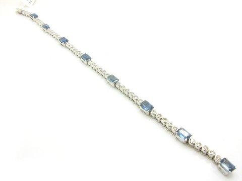 Bracciale tennis in oro bianco 18 kt con diamanti e zaffiri