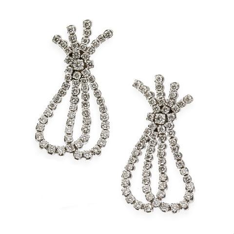 Eleganti orecchini in oro bianco 18 kt con diamanti