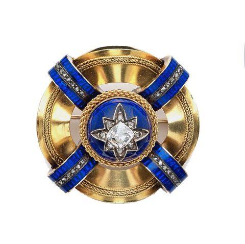 Spilla epoca del 1860 in oro 18 kt e argento 800 lugano