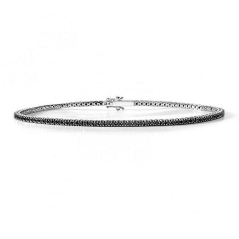 Bracciale tennis in oro bianco 18 kt diamanti neri