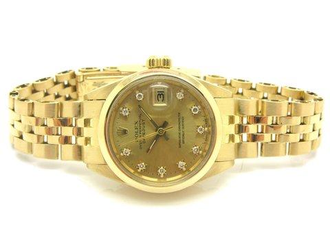 """Rolex """" Datejust """" Ref. 6916 In Oro 18 Kt Champagne Diamond"""