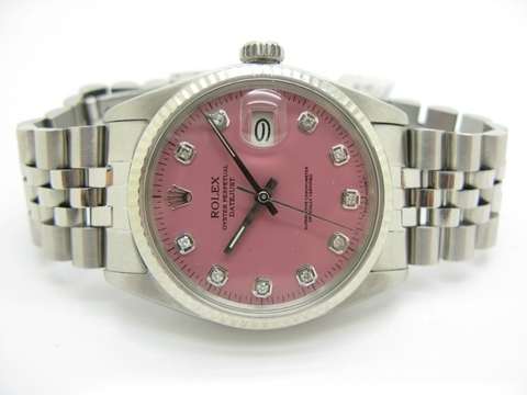 "Rolex  ""datejust "" Ref. 16014 Pink Dial Diamonds After M"