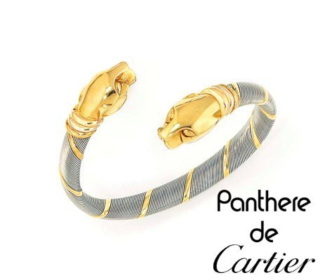 Cartier panthere vintage 80' steel and gold bracelet