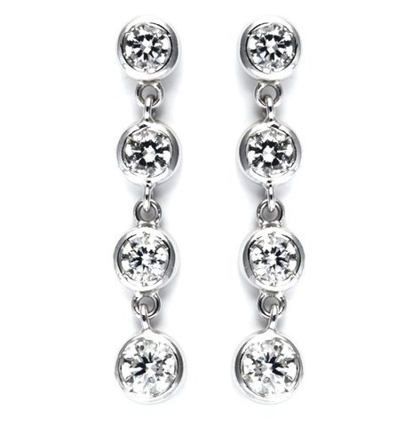 Orecchini in oro bianco 18 kt con 8  diamanti