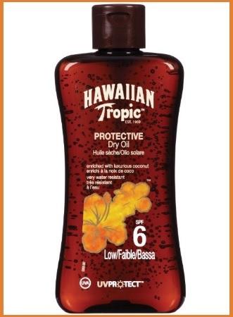 Olio protettivo per la pelle contro il sole hawaiian