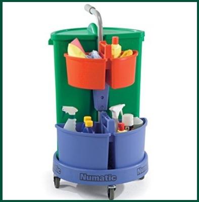 Carrello pulizia con cestino rifiuti