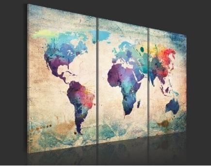 Quadro Fotografico Su Tre Tele Mappa Del Mondo