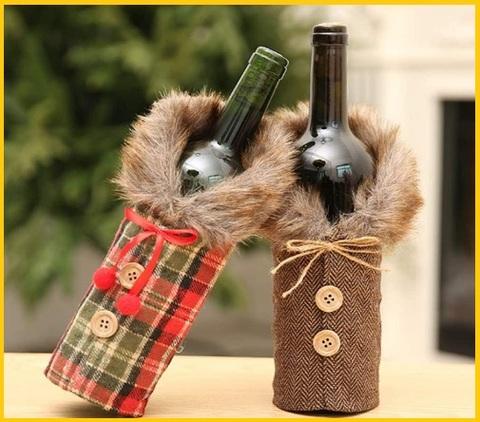 Porta bottiglie decorazioni natalizie
