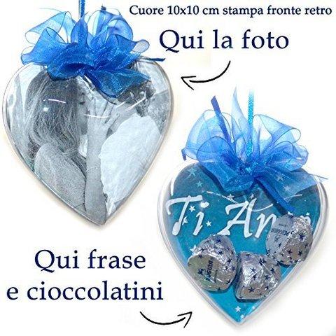 Cuore personalizzato con foto cioccolatini frase idea regalo