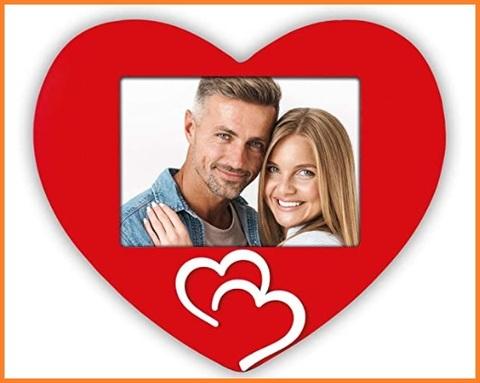 Portafoto rosso legno cuore